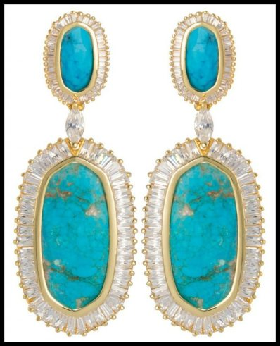 Kendra Scott Baguette Hourglass Earrings in Turquoise Magnesite. Via Diamonds in the Library's jewelry gift guide.