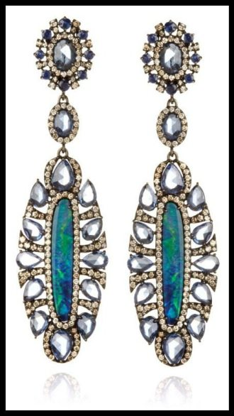 Sutra Opal and Sapphire Earrings. Via Diamonds in the Library.