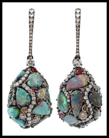 Arunashui Black Opal Egg Drop Earrings. Via Diamonds in the Library.