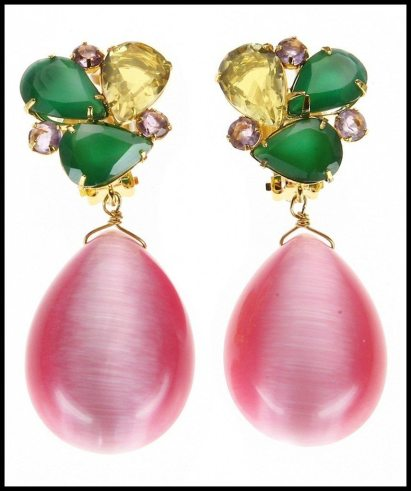 Bounkit Green Onyx & Pink Cat's Eye Earrings. Via Diamonds in the Library's jewelry gift guide.
