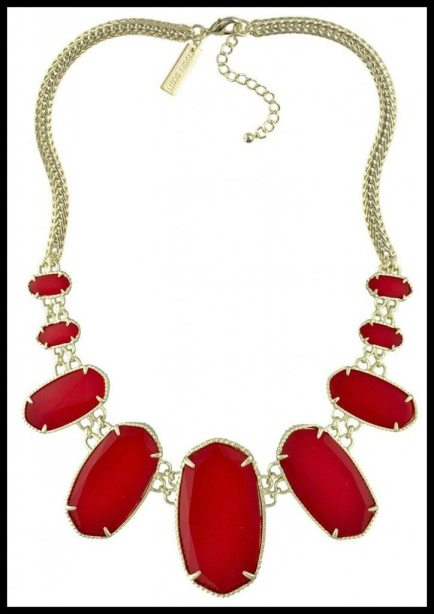 Kendra Scott Ginger Statement Necklace in Bright Red. Via Diamonds in the Library's jewelry gift guide.
