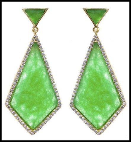 Marcia Moran Geometric Green Onyx Earrings. Via Diamonds in the Library's jewelry gift guide.