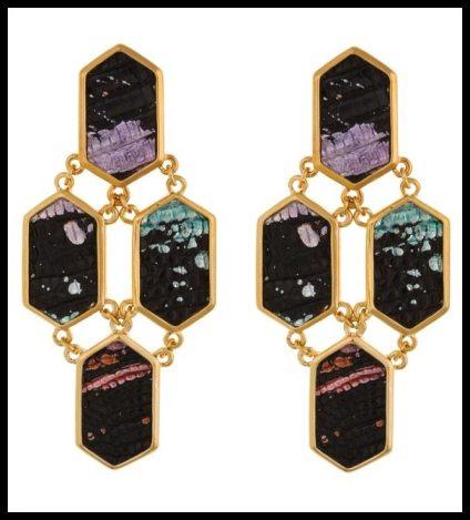 Kara by Kara Ross 4 Piece Hexagon Earrings in Black Splatter. Via Diamonds in the Library's jewelry gift guide.