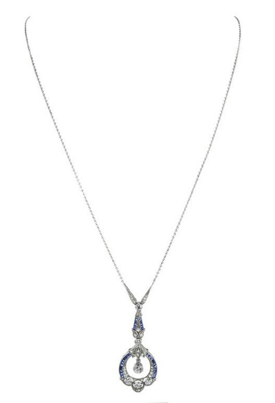 Art Deco diamond and sapphire pendant, circa 1920. Via Diamonds in the Library.
