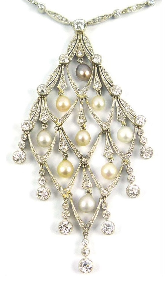 Deail of an Edwardian diamond and pearl lozenge-shaped necklace, circa 1905. Via Diamonds in the Library.