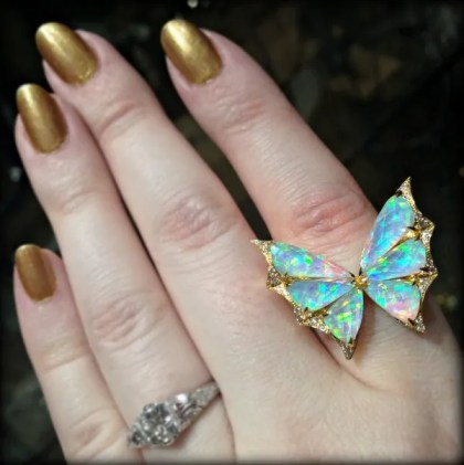 Opal and diamond butterfly ring by Stephen Webster. Via Diamonds in the Library.