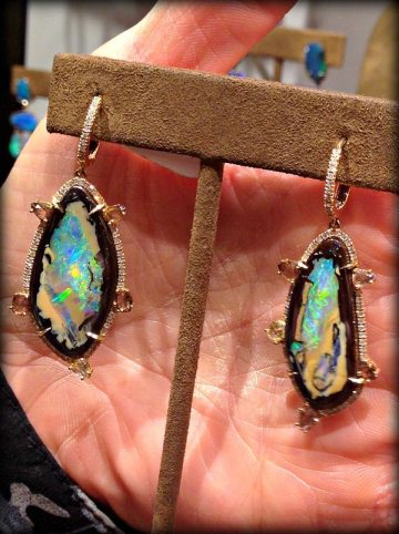 Opal and diamond earrings at Fragments in NYC. Via Diamonds in the Library.