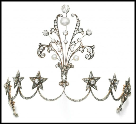 Late 19th century pearl and diamond aigrette tiara with circular and rose cut diamonds. Via Diamonds in the Library.