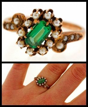 Victorian emerald and pearl ring in gold. Via Diamonds in the Library.