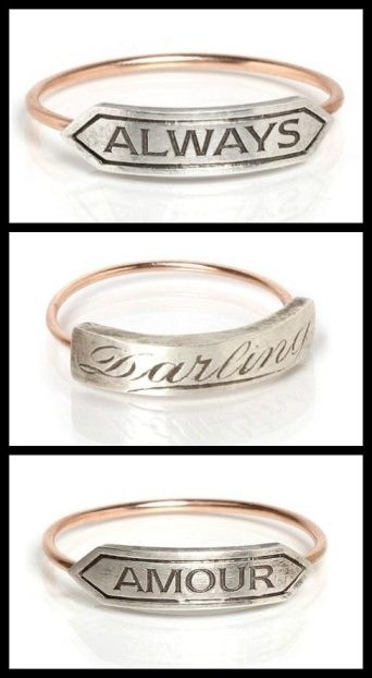 "Victorian-inspired rings by Workhorse: ""Always,"" ""Darling,' and ""Amour."" Via Diamonds in the Library."