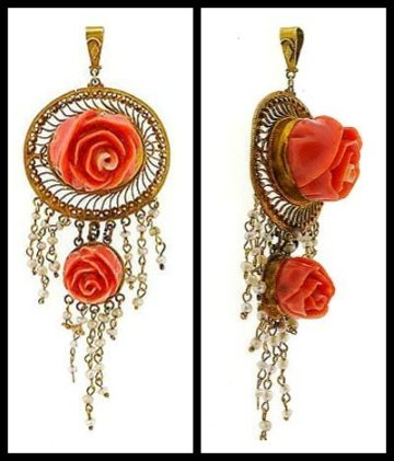 Art Nouveau pendant in gold with seed pearls and carved coral roses. Via Diamonds in the Library.