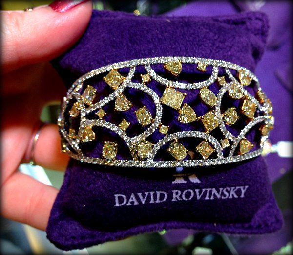 David Rovinsky diamond and yellow diamond bracelet. Via Diamonds in the Library.