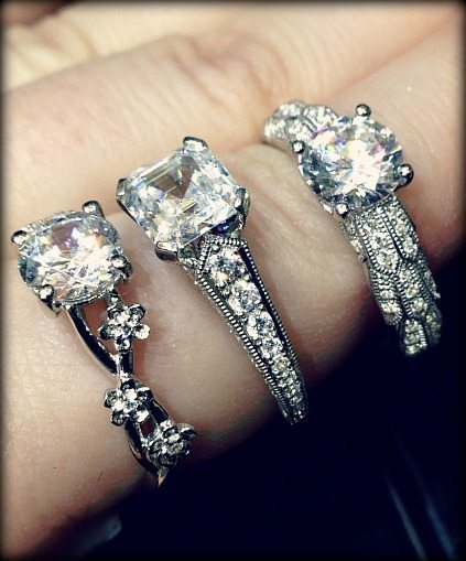 Detail: Jeff Cooper diamond engagement rings. Via Diamonds in the Library.