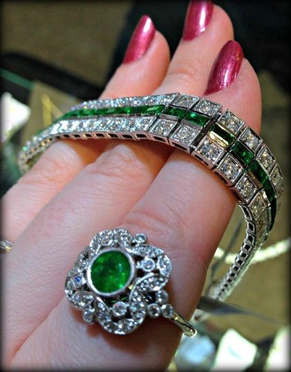 Beautiful Art Deco style emerald and diamond ring and bracelet by David Spivak. Via Diamonds in the Library.