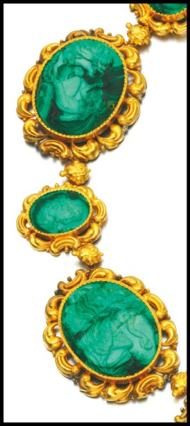 Necklace detail: Antique gold and malachite cameo parure, circa 1830 and later. Via Diamonds in the Library.