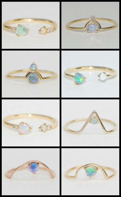 WWAKE's gold and opal rings, some with diamonds and opalite. Via Diamonds in the Library.