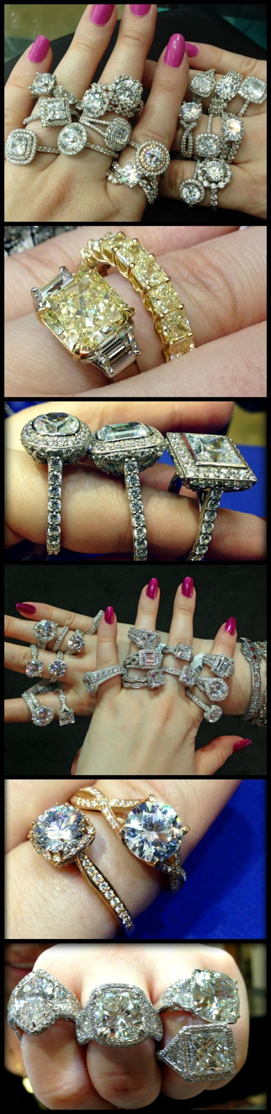 Diamond engagement rings from the past year, modeled and photographed by Becky of Diamonds in the Library.