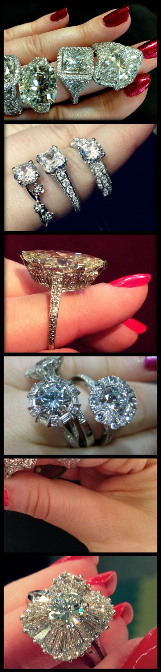 More diamond engagement rings from the past year, modeled and photographed by Becky of Diamonds in the Library.