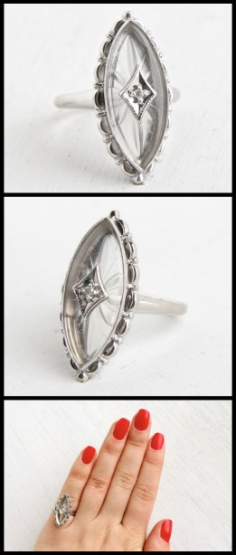 Vintage white gold and camphor glass ring from the 1960's. Via Diamonds in the Library.