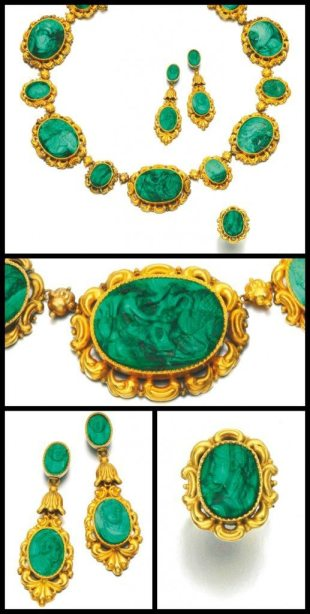 Antique gold and malachite cameo parure, circa 1830 and later. Via Diamonds in the Library.
