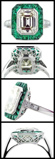 Emerald and emerald cut diamond ring in platinum. Center stone is a 2.5 emerald cut diamond, K color, VS1 clarity. Via Diamonds in the Library.