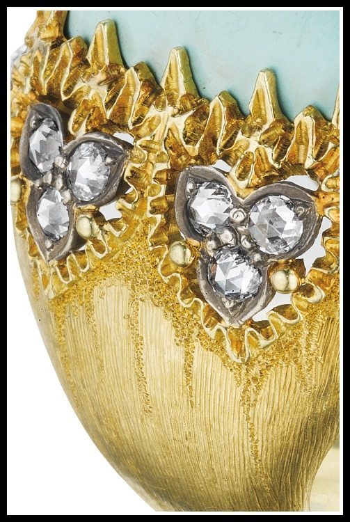 Buccellati turquoise and diamond ring in gold. Via Diamonds in the Library.