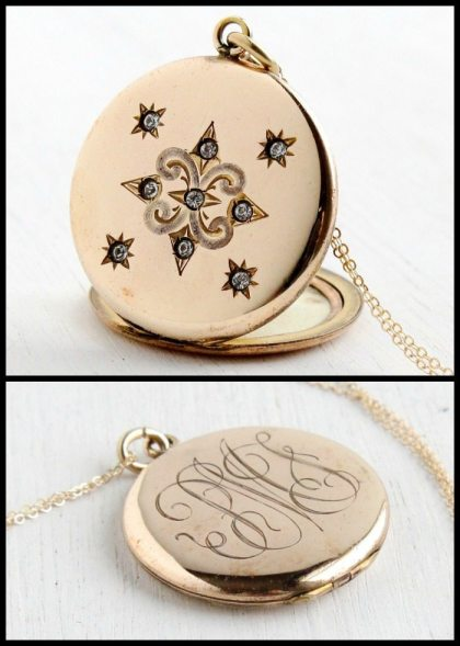 Antique gold star locket with monogram; Victorian or Edwardian. Via Diamonds in the Library.