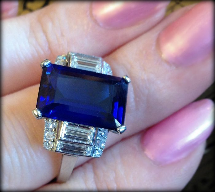 Exceptional sapphire and diamond ring at The Antique Guild. Via Diamonds in the Library.