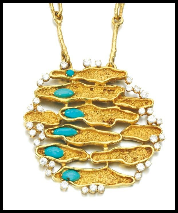 Pendant detail: 1970's turquoise and diamond pendant necklace with a 30 inch gold chain. Via Diamonds in the Library.