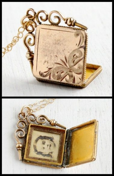 Antique Victorian or Edwardian gold locket with scrolling bail and embossed front. Via Diamonds in the Library,