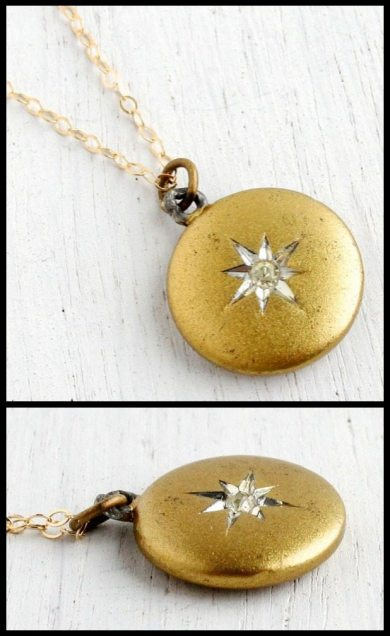 Vintage gold locket from the 1950's or 60's with a rhinestone star design. Via Diamonds in the Library.