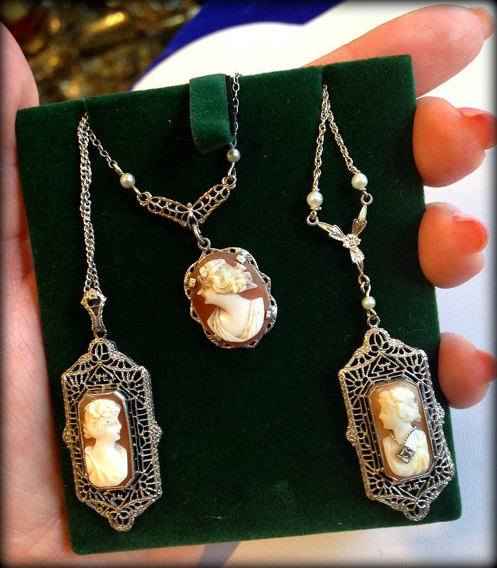 Three antique cameo filigree necklaces. Via Diamonds in the Library.