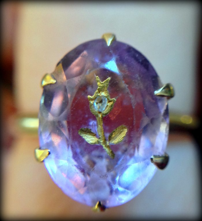 Victorian rose of sharon amethyst ring. Via Diamonds in the Library.
