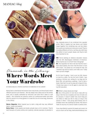 From Maniac Magazine's feature article all about Diamonds in the Library: Where Words Meet Your Wardrobe.