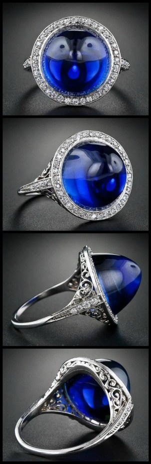 Antique Edwardian cabochon sapphire and diamond ring with filigree at Lang Antiques. Via Diamonds in the Library.