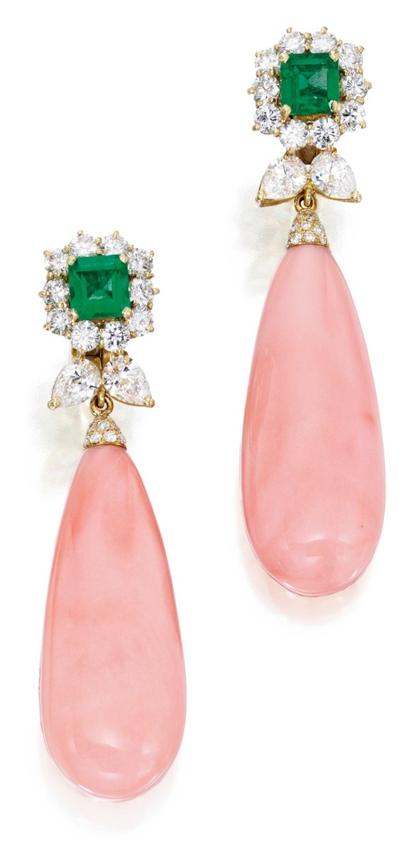 Gold, emerald, diamond and coral earrings by Bulgari. Via Diamonds in the Library.
