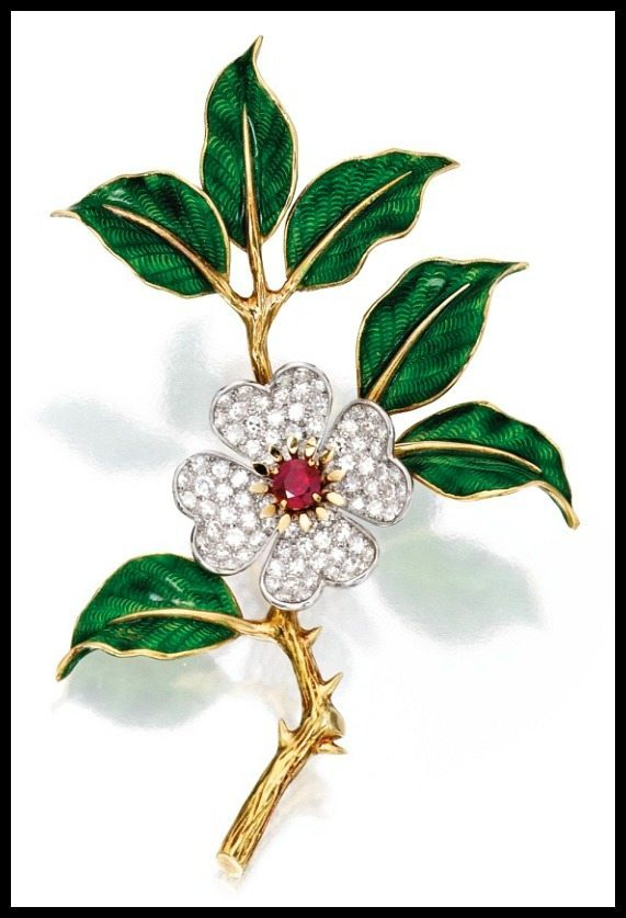 Brooch from gold, diamond, enamel, and ruby dogwood flower suite by Boucheron, Paris. Via Diamonds in the Library.