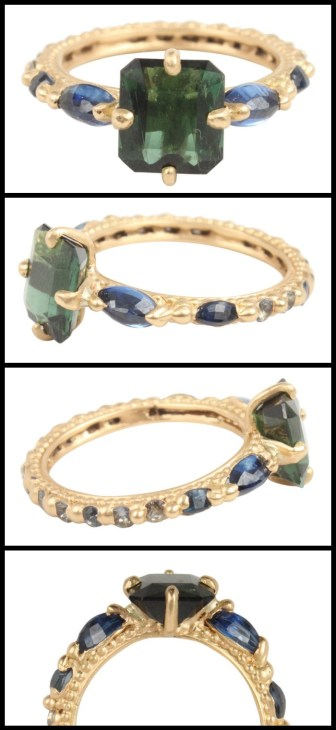 Polly Wales tourmaline and sapphire ring in gold, at Catbird. Via Diamonds in the Library.