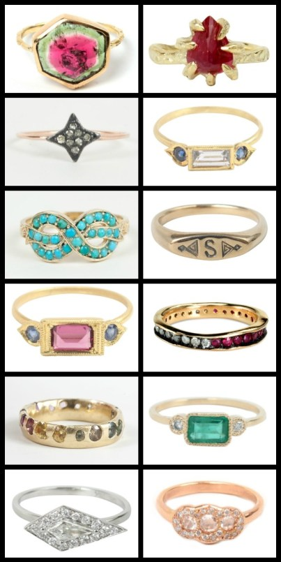 Lovely Catbird jewelry: gemstone and diamond rings. Via Diamonds in the Library.