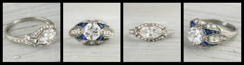 Two antique Art Deco engagement rings. Tiffany's on the left, with sapphires on the right.