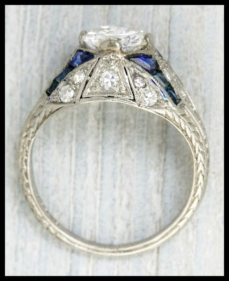 Wedding Ring With Sapphires And Diamonds 79 Unique Art Deco sapphire and