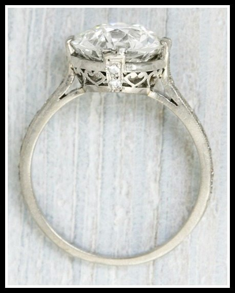 3.77 diamond Art Deco engagement ring with filigree gallery. Via Diamonds in the Library.