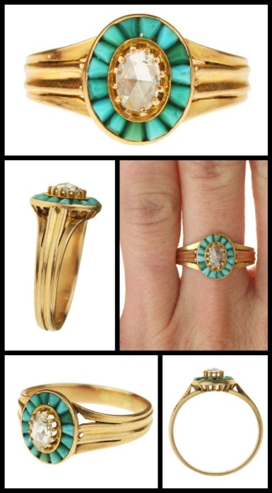 Antique Victorian gold ring with Persian turquoise and a rose cut diamond. Via Diamonds in the Library.