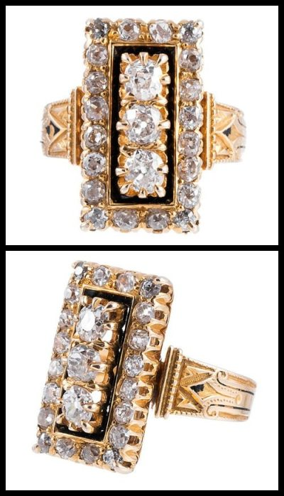 Antique enamel and diamond plaque ring in gold. Via Diamonds in the Library.