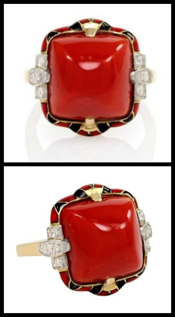 Antique Art Deco coral, diamond, and enamel ring. Via Diamonds in the Library.