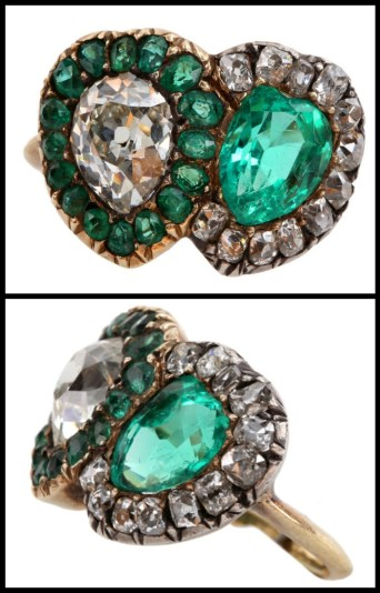 Victorian English twin heart ring with a 1.30 ct pear shaped diamond and a 1.20 ct emerald. Via Diamonds in the Library.