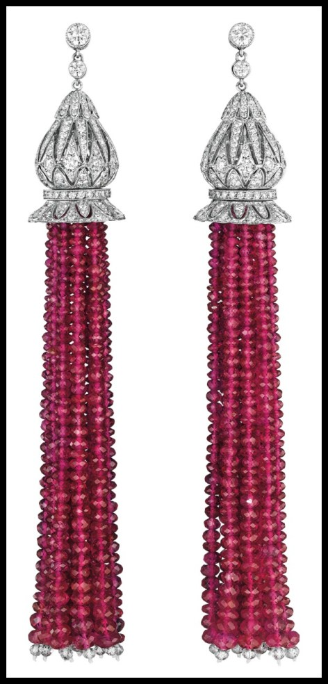 Diamond and Burmese ruby tassel earrings. Via Diamonds in the Library.
