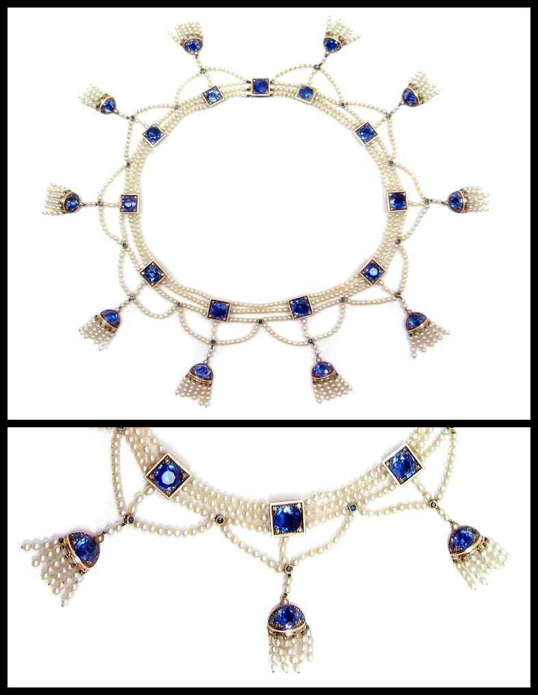 Antique sapphire and seed pearl fringe necklace from 1900, with detail
