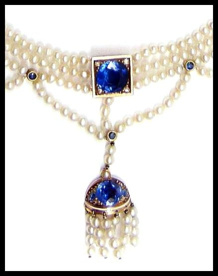 Antique sapphire and seed pearl fringe necklace, tassel detail