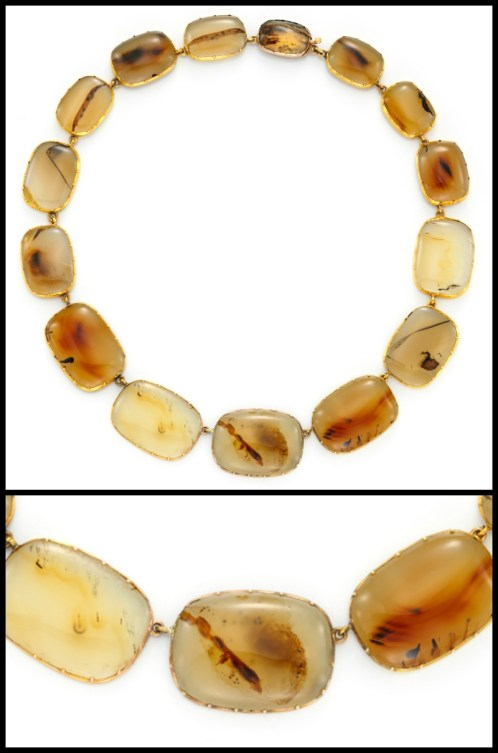 Georgian agate riviere necklace in gold. Via Diamonds in the Library.